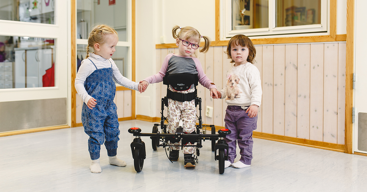 Walking aids give the possibility to get upright and walk